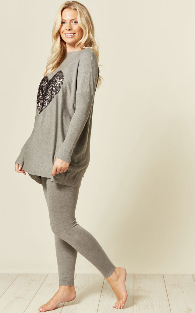 TIANA GREY OVERSIZED TOP & LEGGINGS WITH SEQUIN HEART by Blue Vanilla
