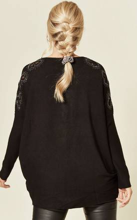 MICHAELA BLACK JUMPER WITH DIAMANTE RIBBONS by Blue Vanilla