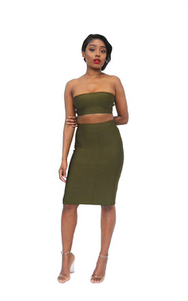 The 'Tara' Bandage Bandeau Top And Skirt Co Ord In Olive Green by Made By Issae Product photo