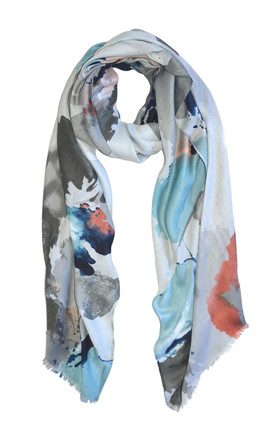 Lightweight Scarf In Grey Watercolour Print by White Leaf Product photo
