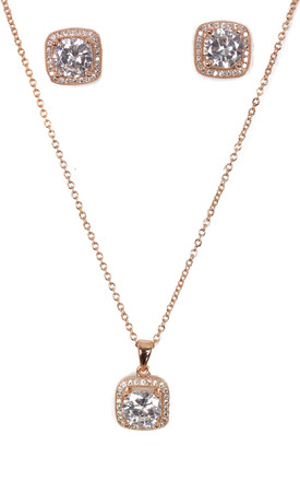 Rose Gold Necklace & Earring Set with Sparkly Square Design by Urban Mist
