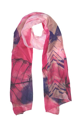 Lightweight Chiffon Scarf In Pink And Blue Leaf Print by White Leaf Product photo