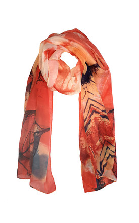 Lightweight Chiffon Scarf In Orange & Red Leaf Print by White Leaf Product photo