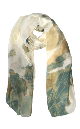 Large Silky Scarf In Off White With Green Floral Print by White Leaf Product photo