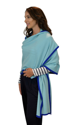 Royal Blue 100% Cashmere Travel Wrap Oversized Scarf by Mimi & Thomas® cashmere & leather