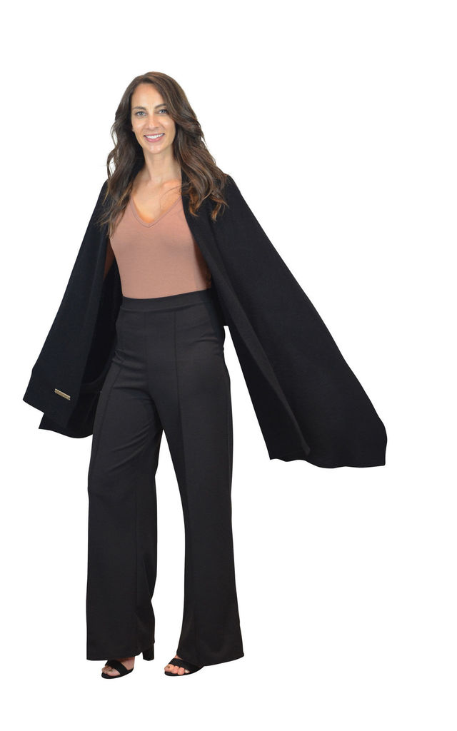 Black 100% Pure Cashmere Travel Wrap Oversized Scarf by Mimi & Thomas® cashmere & leather