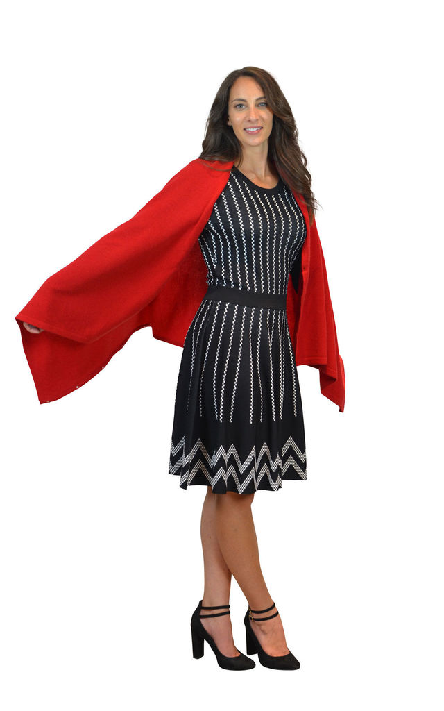 Red 100% Pure Cashmere Button Poncho Travel Wrap by Mimi & Thomas® cashmere & leather