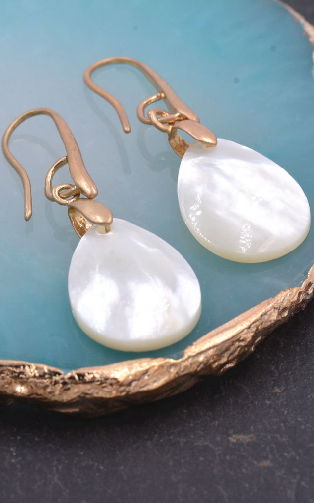 Matte Gold Hook Earrings with Mother of Pearl by Silver Rain