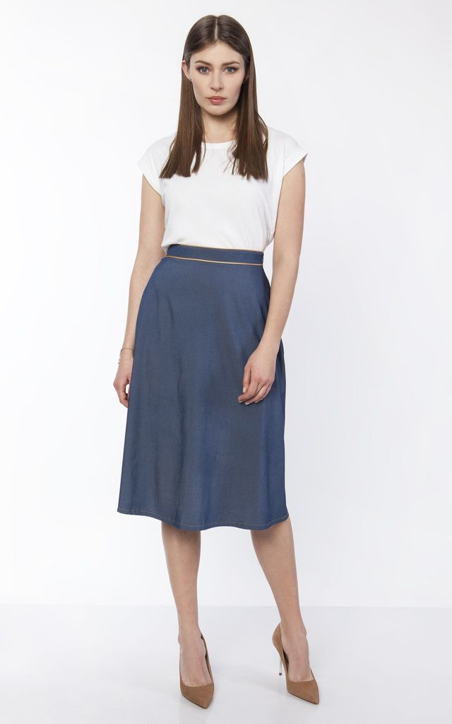 skate shoes closer at good texture Flared Midi Skirt In Denim | Lanti | SilkFred
