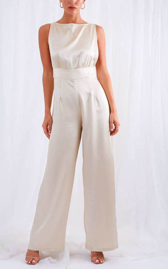 Jojo Maxi Jumpsuit - Champagne by Pretty Lavish