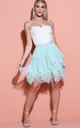 Tulle high waisted tiered mini skirt mint green by LILY LULU FASHION