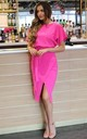 Judith Wrap Front Batwing Dress in Hot Pink by Missfiga