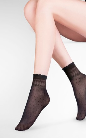 Black Patterned Socks with Anti Pressure Band by BB Lingerie
