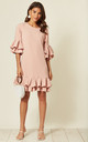 Pale Pink Mini Dress with Double Pleated Hem & Sleeves by Prodigal Fox