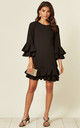 Black Mini Dress with Double Pleated Sleeve and Hem by Prodigal Fox