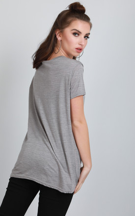 Short Sleeve Jersey T-shirt in Grey by Oops Fashion