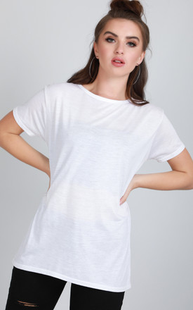 Short Sleeve Jersey T-shirt in White by Oops Fashion