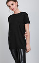 Short Sleeve Jersey T-shirt in Black by Oops Fashion