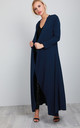 Long Sleeve Waterfall Maxi Jacket in Navy by Oops Fashion