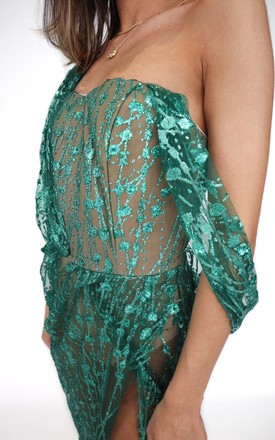 STELLA Sheer Embellished Maxi Dress in Green by House of Gigi