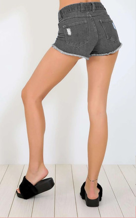 Black High Waisted Denim Shorts with Frayed Hem by Oops Fashion