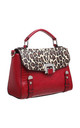 LEOPARD AND CROC PRINT TOTE BAG in RED by BESSIE LONDON