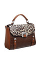 LEOPARD AND CROC PRINT TOTE BAG in TAN by BESSIE LONDON
