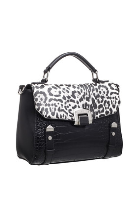 LEOPARD AND CROC PRINT TOTE BAG in BLACK by BESSIE LONDON