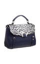 LEOPARD AND CROC PRINT TOTE BAG in NAVY by BESSIE LONDON