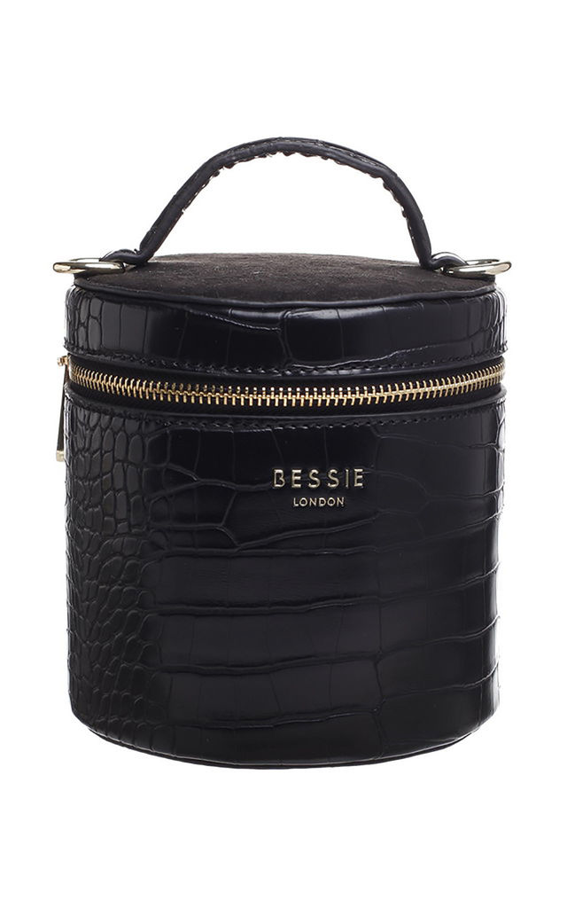BLACK CROC BUCKET BAG with TOP HANDLE by BESSIE LONDON