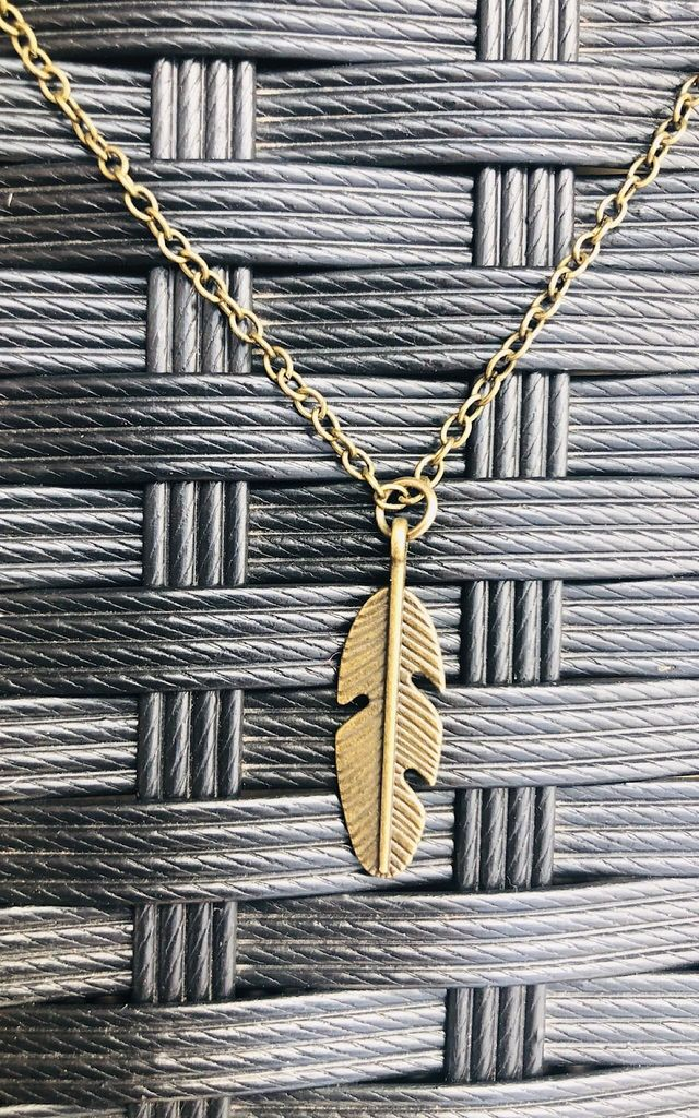 Antique gold feather necklace by Lovelock jewels