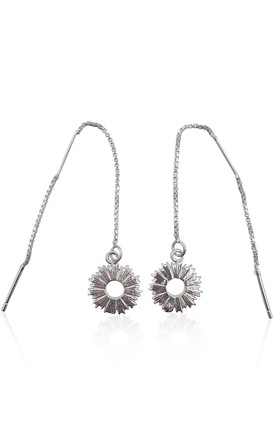 Sterling Silver Threader Earrings With Radial Sunburst Charms by Eliza Bautista Product photo