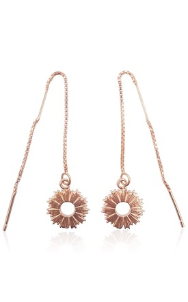 18k Rose Gold Vermeil Threader Earrings With Radial Sunburst Charms by Eliza Bautista Product photo