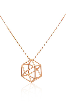 18k Rose Gold Vermeil Necklace With Geometric Icon Pendant by Eliza Bautista Product photo