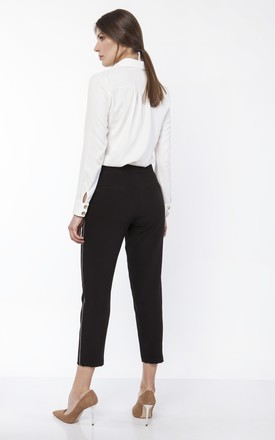 Trousers with Side Stripe in Black by Lanti