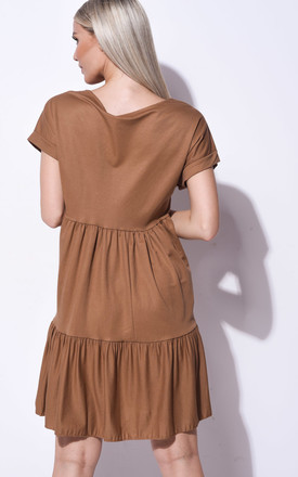 Frill tiered mini smock dress in brown by LILY LULU FASHION