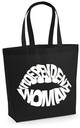 Independent woman lip tote bag in black by Sade Farrell