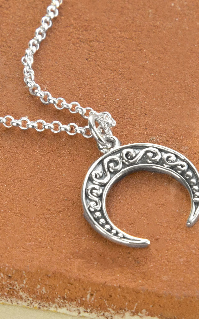 Sterling Silver Necklace with Ankara Moon Pendant by Martha Jackson Jewellery