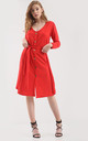 Long Sleeve Button Midi Dress in Red by Oops Fashion