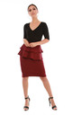 High Waist Peplum Frill Midi Skirt in Wine Red by Oops Fashion