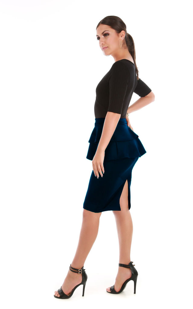 High Waist Peplum Frill Midi Skirt in Navy by Oops Fashion