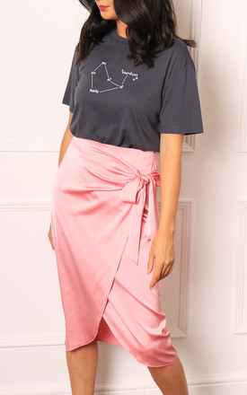 Pink Satin Wrap Midi Skirt with Curved Hem by One Nation Clothing
