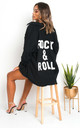 Indigo Oversized Black Jacket with 'Rock & Roll' Slogan by IKRUSH