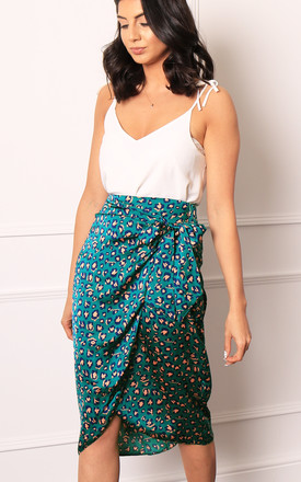 Satin Wrap Midi Skirt In Green & Coral Leopard Print by One Nation Clothing Product photo