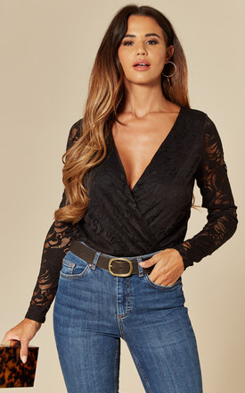 Long Sleeve Lace Bodysuit In Black by VILA Product photo