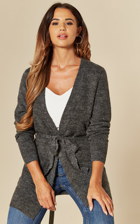 Belted Cardigan In Dark Grey by VILA Product photo