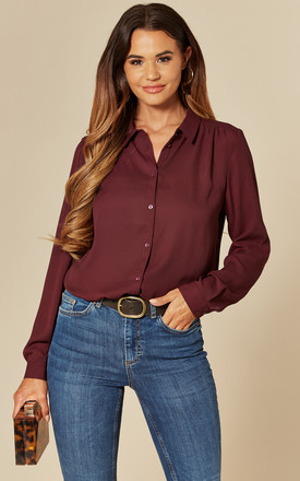 Button Front Shirt In Burgundy by VILA Product photo