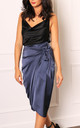 Satin Wrap Midi Skirt in French Navy by One Nation Clothing