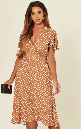 Ada Ginger Leopard Spot Frill Sleeve Tea Dress by Love Product photo