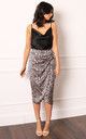 Satin Wrap Midi Skirt in Champagne Gold Leopard Print by One Nation Clothing